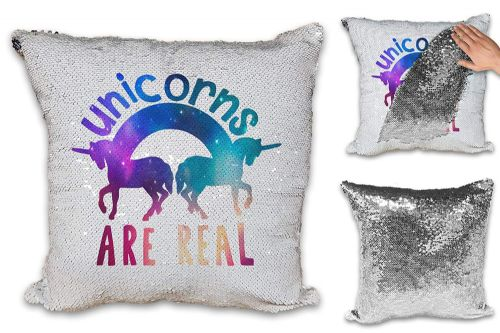 Unicorns are Real Funny Sequin Reveal Magic Cushion Cover